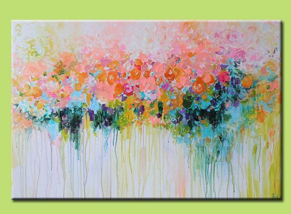 Original abstract painting abstract art abstract landscape for Painting large flowers in acrylic