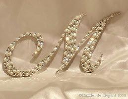 Swarovski Crystal Monogram Cake Toppers - Crystal and Pearl Cake Topper