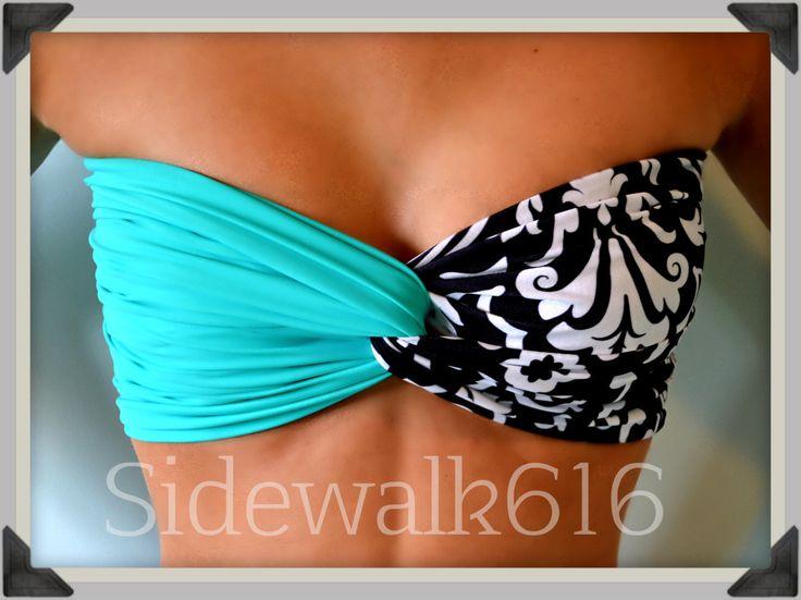 Mint Floral Bandeau Top Spandex Bandeau Bikini by Sidewalk616, $30.00
