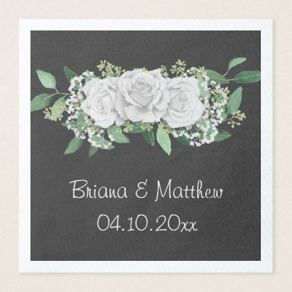 Modern Floral White Roses Wedding Luncheon Napkin - rose style gifts diy customize special roses flowers