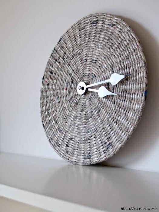 Плетение. ЧАСЫ из газетных трубочек