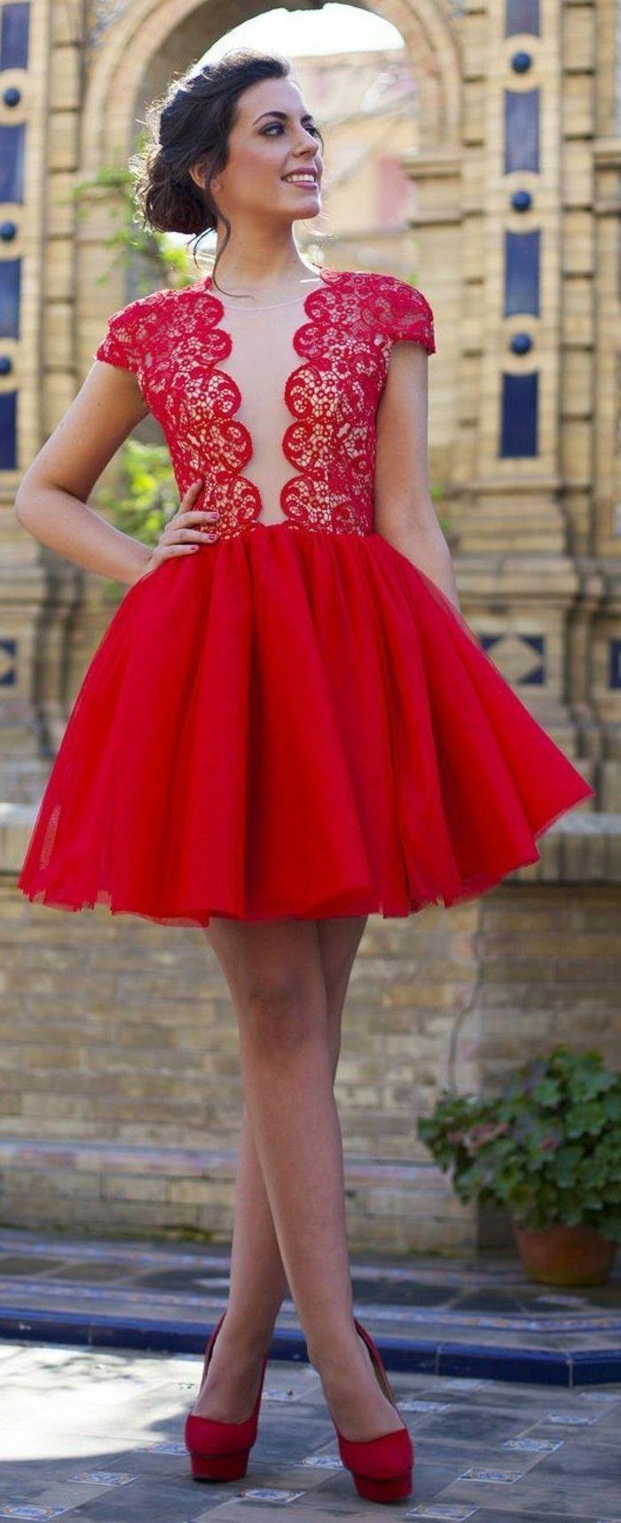 kleid festlich rotes kurzes kleid mit spitze schuhe mit hohen
