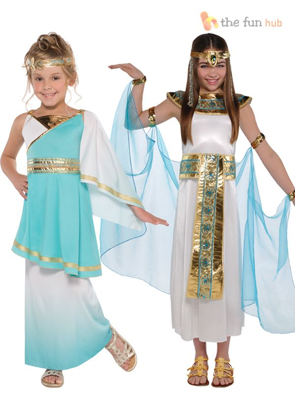 Girls Egyptian Greek Queen Goddess Cleopatra Toga Fancy Dress Costume Outfit Kid  sc 1 st  Pinterest & 24 best Fayetts :) x images on Pinterest | Egyptian costume ...