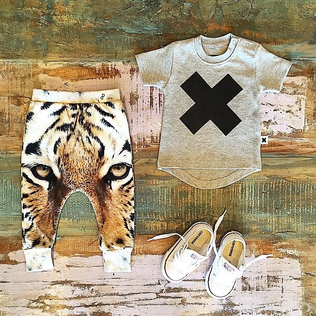 BABY • Popupshop organic tiger baggy pants, Huxbaby X tee & Converse Chuck Taylors. Limited sizes left in the tiger baggys, please see our website for measurements as the baby sizes run big. All available at Tiny Style in Noosa & online •    www.tinystyle.com.au