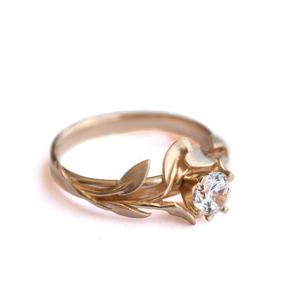 Leaves Engagement Ring No.4 - 18K Yellow Gold and Diamond engagement ring by Doron Merav