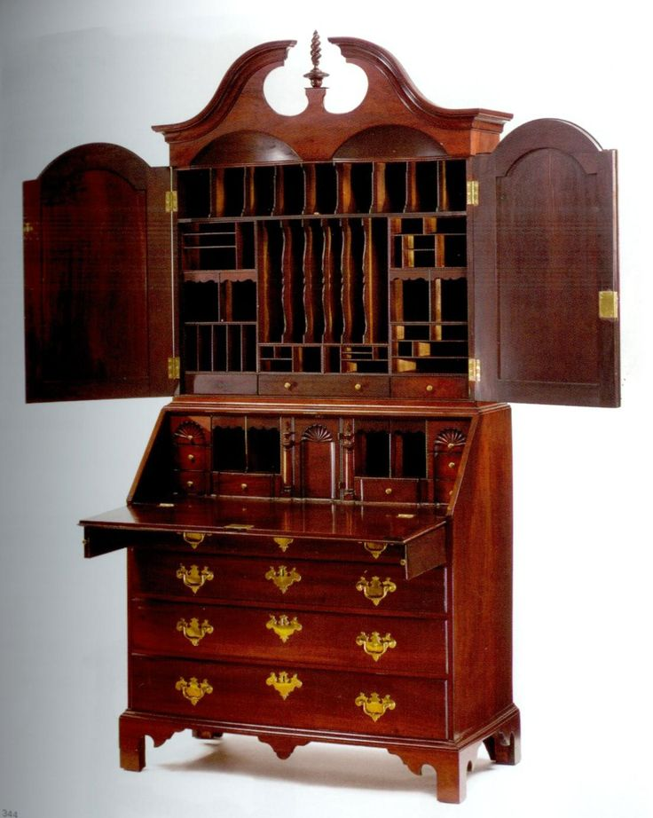 A Chippendale Carved and Figured Mahogany Desk and Bookcase, Labeled Benjamin Frothingham, Charlestown, Massachusetts, Circa 1775.