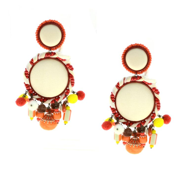 Earrings made of silver 925 and silk with coral and natural stones