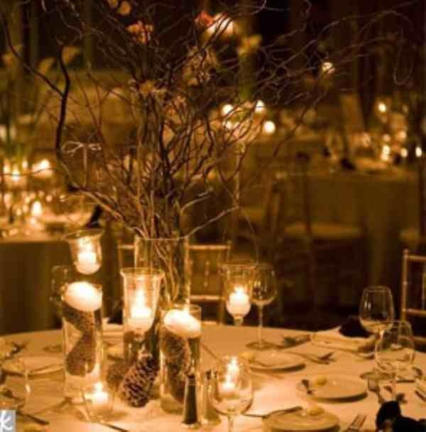 Winter wedding table centrepiece with candles.