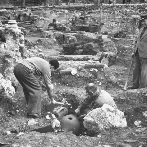 Archaeologist Excavationing Ancient Pots at Agora Ancient Market Place Premium Photographic Print