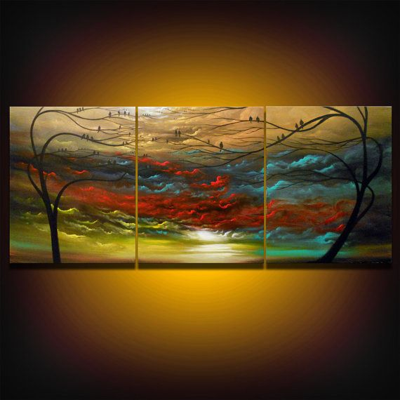 huge oversized tree painting cloud painting abstract painting landscape metallic gold bronze large bird 66 x 28 Mattsart