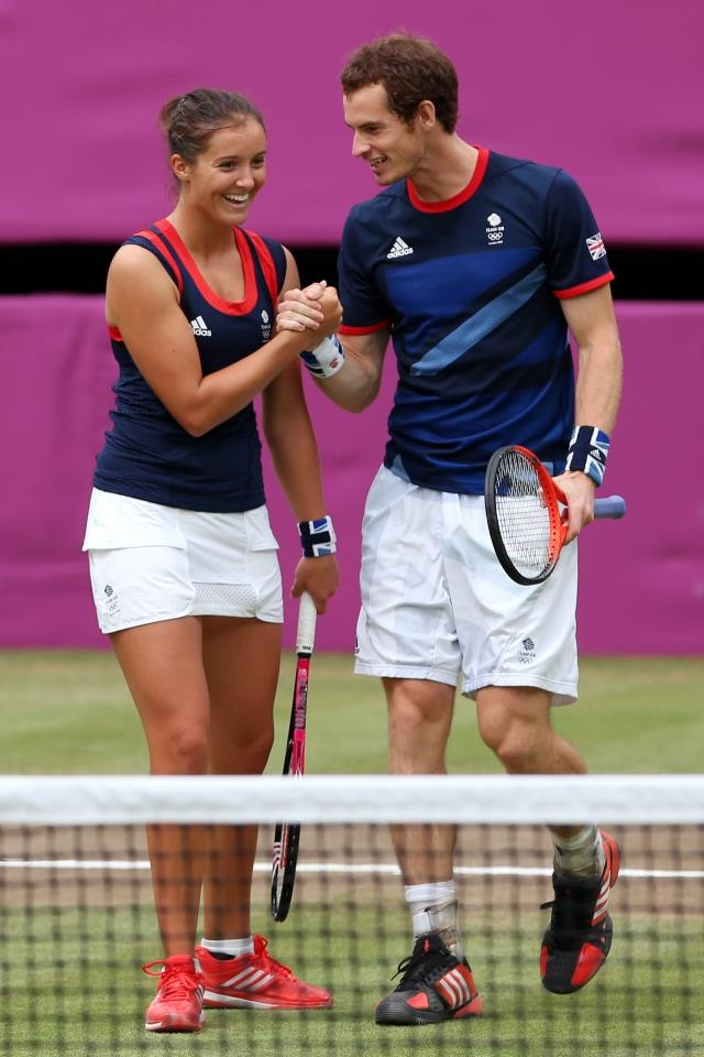All smiles for Team GB's Andy Murray and Laura Robson,