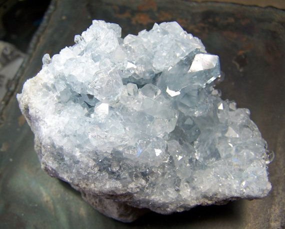 Celestite Geode Crystal cluster celestine  Blue  by CoyoteRainbow, $50.00