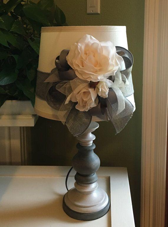 handmade / Cottage Chic / Shabby Chic / lamp / table lamp / grey / ivory / small lamp / dorm lamp / desk lamp