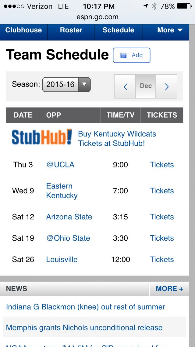 (2) basketball tickets to UK vs Ohio State 12-19-15