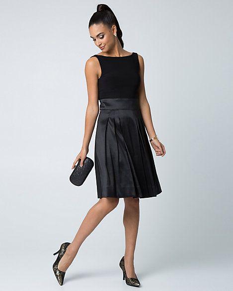 Robe cocktail à jupe ample en taffetas