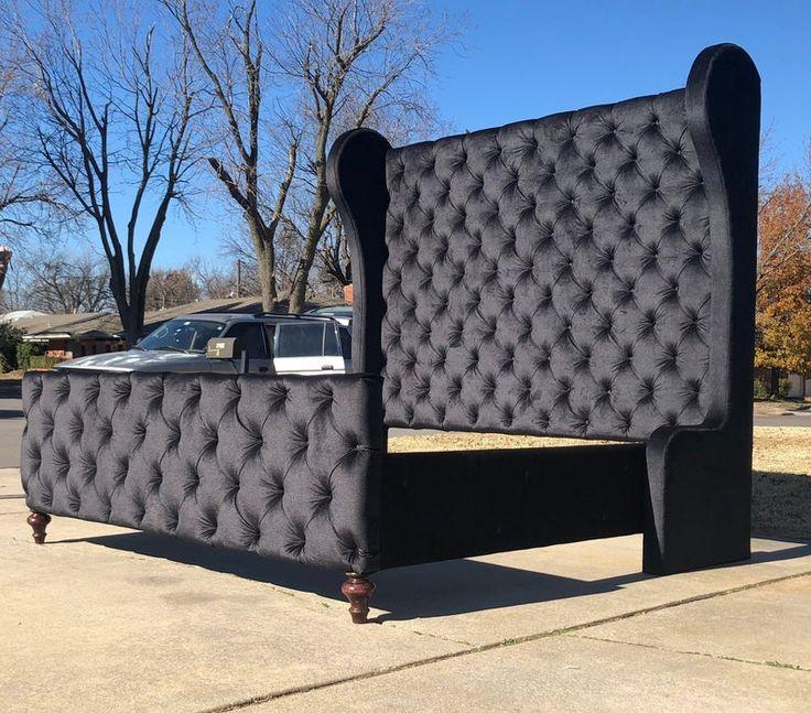 Custom Bed Headboard Tufted Curvy Tall Platform California