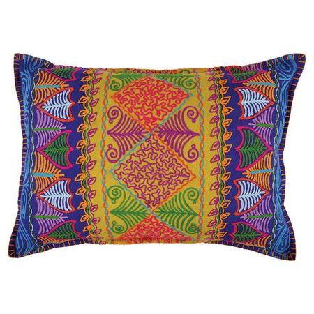 Delightful Felt Pillow Showcasing An Embroidered Patchwork Design