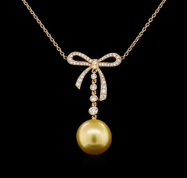 One south sea cultured pearl, 13.0mm in size. The pearl is golden in color with a very good luster, round to near round, lightly blemished Graded in the setting. South Sea Cultured Pearls are farmed in the ocean waters throughout Australia, the Philippines, Indonesia, and the southern coast of China. Australia's main culturing industry is located near the city of Broome, in the northwest, on the Kimberley coast. South Sea cultured pearls form in the Pinctada Maxima oyster, the world's…