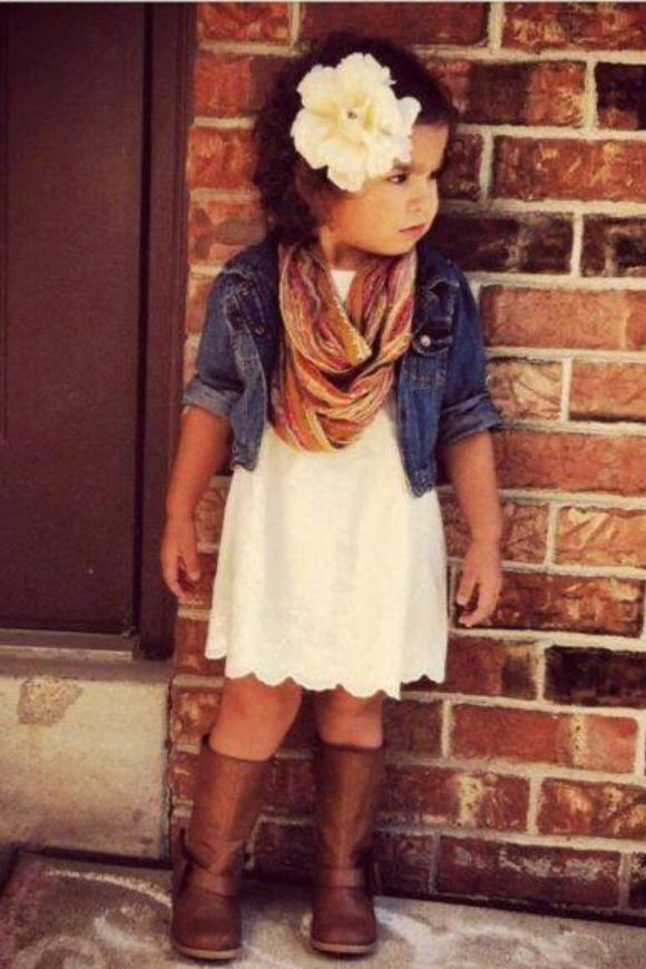 Little girl outfit. I like the jean jacket on a little girl . . . the scarf…