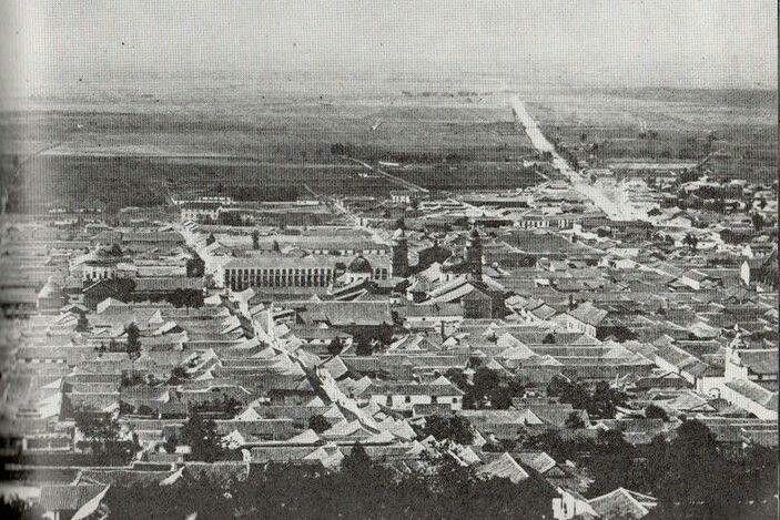 Aprox 1880 panoramica Bogotá notese la plaza de san victorino es el limite al occidente.