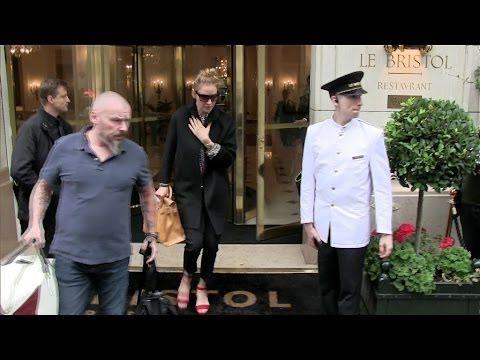 Uma Thurman, Donatella Versace and Allegra Versace at the Bristol Hotel in Paris