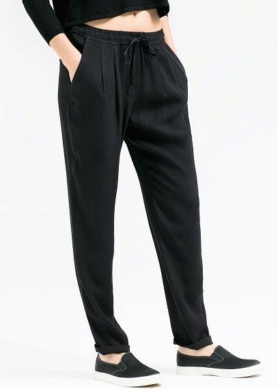 Pantalón baggy cordón - Pantalones de Mujer | OUTLET