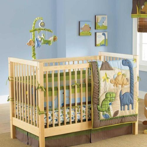 Blue and Green Dinosaur Baby Boy Monster Nursery Tree Infant Crib Bedding Set