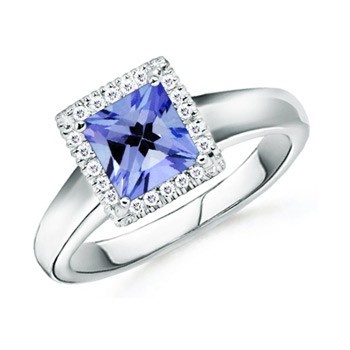 Angara Pear Tanzanite Halo Engagement Ring With Diamond Shoulders in Platinum