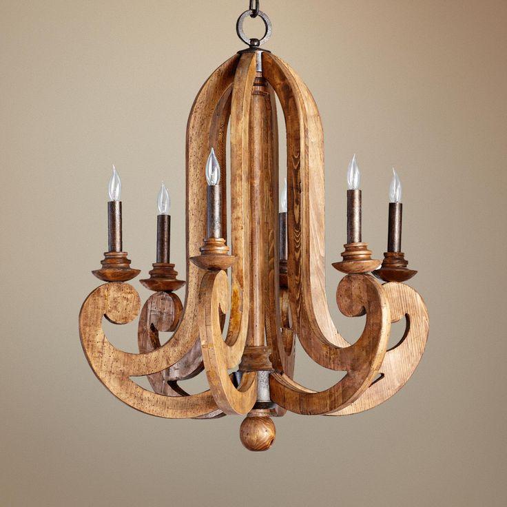 "Amazing Wooden Chandelier for the Foyer :: Quorum Ashford 6-Light 26 1/2"" Wide Provincial Chandelier -"