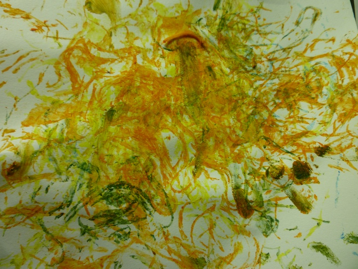 Schilderen met spaghetti! Het resultaat.