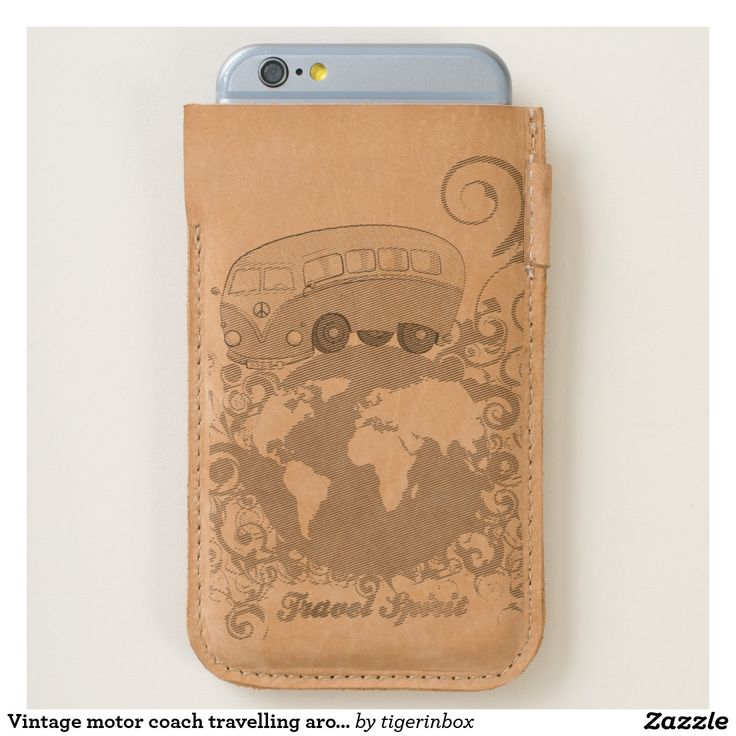 Smartphone case with Vintage motor coach travelling around the world. Fits both the Apple iPhone 7 and iPhone 6/6s