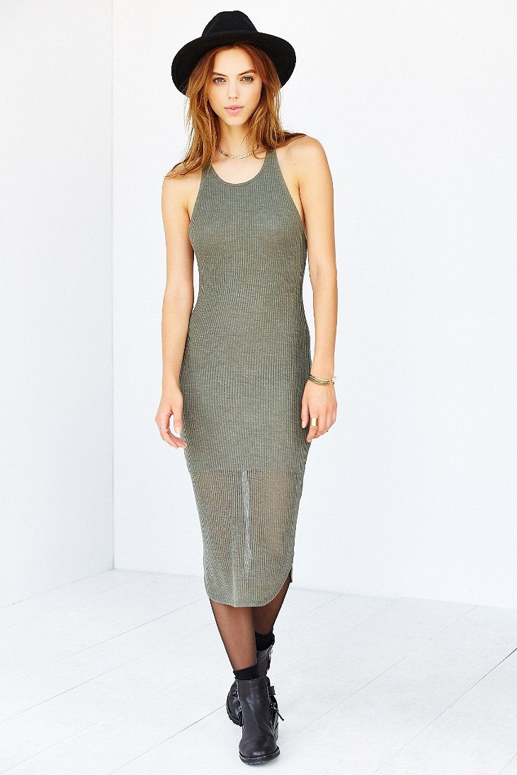 Sparkle & Fade Ribbed Racerback Tank Dress - Urban Outfitters