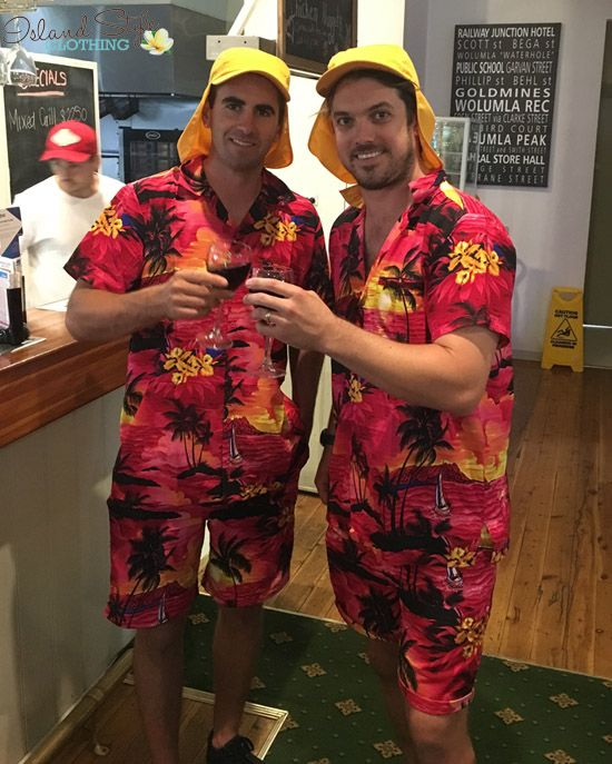 Bachelor Party Outfit - Boys in Hawaiian Cabana Sets 'Pink Sunset' wear to a luau party, cruise or halloween costume. Lots of colours and patterns.