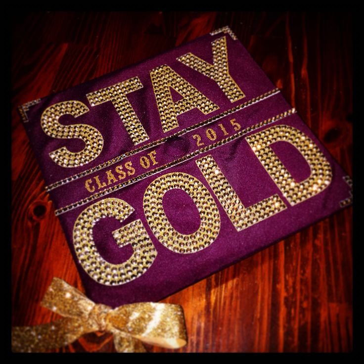 Graduation cap decoration for an English major. Stay gold Ponyboy. Class of 2015 Arizona State University