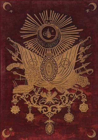 Ottoman coat of arms, 19th century. Osmanlı 19.YY Ahşap İnce Oyma Sanatı İle Devleti Osmani Arma. via Ottoman Imperial Archives.