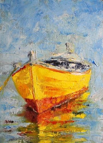 """Sunshine"" -: Yellow Boats, Paintings Art, Artists, Art Boats, Fish Boats, Drawings Watercolor Paintings, Jeanette Jobson Research, Jobson Boats, Boats Art"
