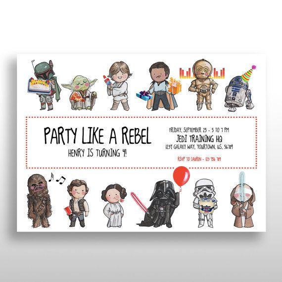 STAR WARS Invitation Disney Star Wars Original Characters Birthday Party Invite W Props EDITABLE Printable Personalized Custom Pdf
