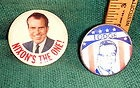 2 RICHARD NIXON CAMPAIGN PINS- 1960 w/ HENRY CABOT LODGE, 1968 NIXON'S THE ONE - 1960, 1968, CABOT, Campaign, Henry, Lodge, NIXON, Nixon's, PINS, Richard