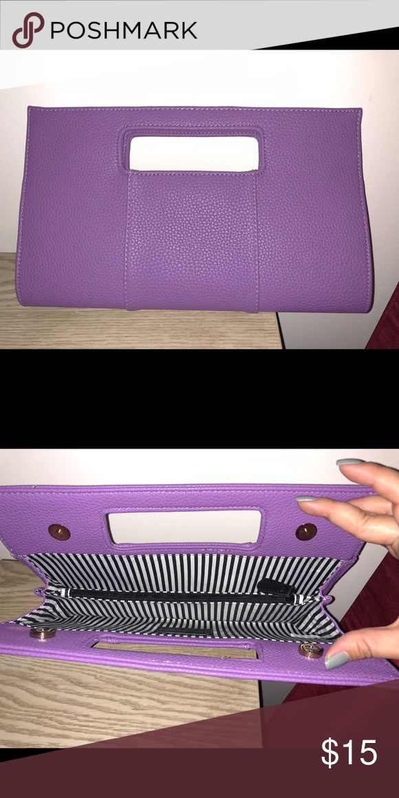 Purple Clutch Bag Purple Clutch/Bag NWOT; magnetic closure, inside is black/white striped, has a zippered compartment Charming Charlie Bags Clutches & Wristlets
