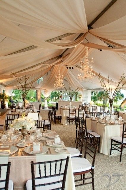 Square tables look so much more sophisticated in a marquee, clean lines on the draping too.
