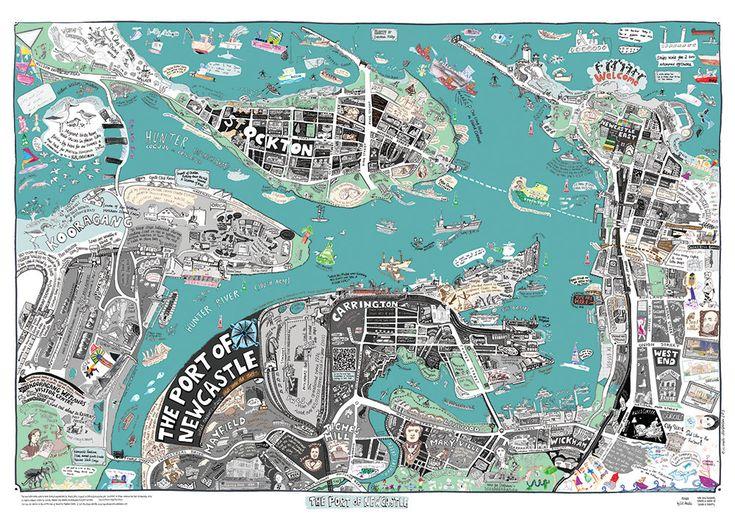 Newcastle Port Map by LizAnelliPrints on Etsy