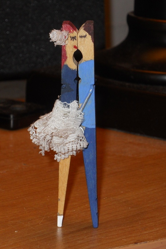 Kissing clothespin couple, customized to Dan and I. Variations can also be found from other sources on Pinterest.