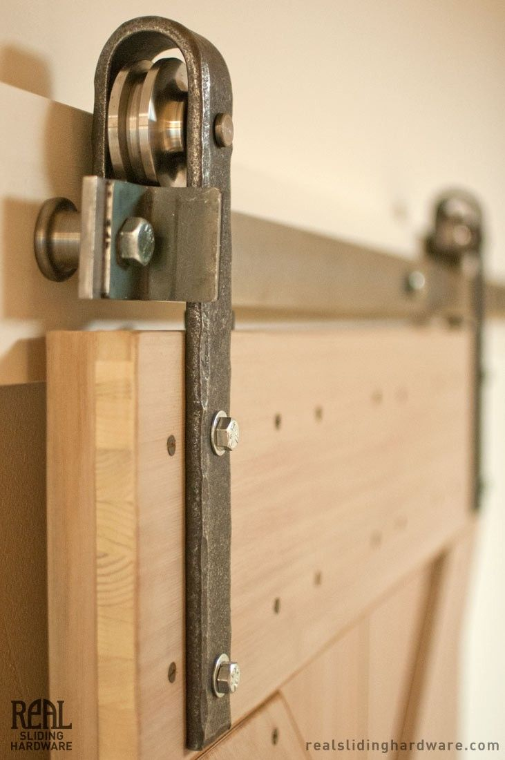 Real Sliding Hardware - Hammered Flat Track Kit, $393.00 (http://www.realslidinghardware.com/Hammered-Barn-Door-Hardware-Kit/)  // we are reusing an old rusted steel door from the existing space as the entry to the back of the house on a sliding track system.