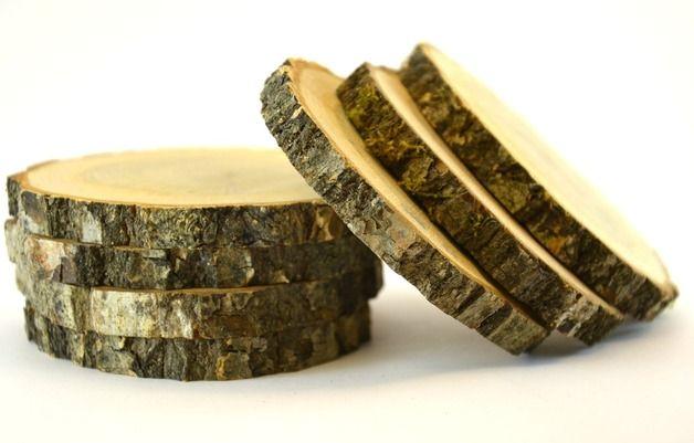 4 Eichen-Holz-Untersetzer Scheiben für Hochzeit