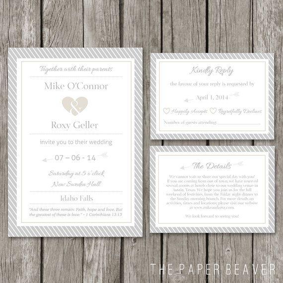 Diy printable wedding invitation template modern wedding for Modern wedding invitations free samples