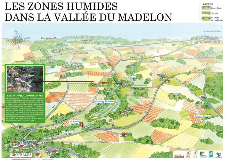 Plan illustré de la Vallée du Madelon près de Château-Renault en Touraine. Panneau d'information sur les travaux réalisés sur la rivière par le Syndicat de la Brenne.