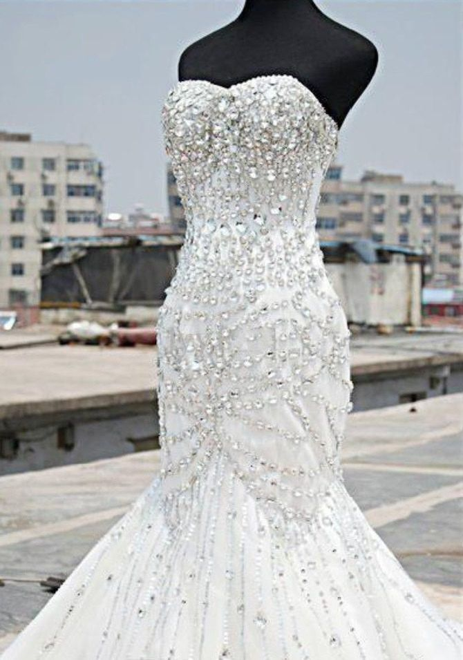 Bling Brides Bouquet online Bridal Store Mermaid Wedding Dress With Sweetheart neck and Beaded Floor Length Sweep Train, Bling Bridal Gown with Sparkle Crystal Rhinestones By: bling brides bouquet Fab