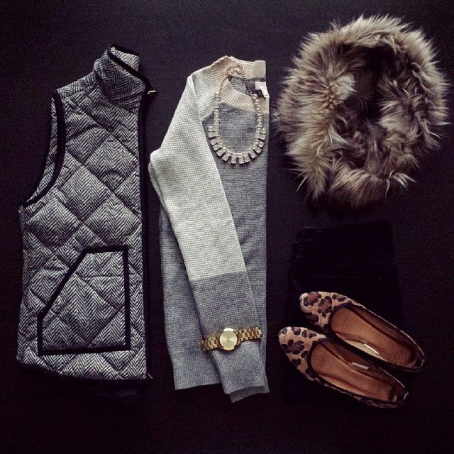 herringbone vest, neutral swear, faux fur and leopard | kristina_bor on instagram. a little preppy for me but i like it.