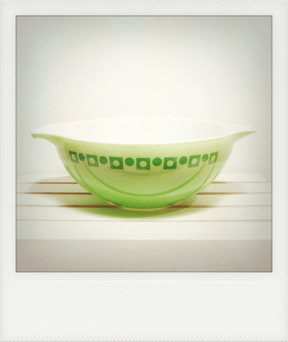 RARE Vintage 4 Qt. Promotional Lime Green Pyrex Cinderella Bowl with Square and Dot Pattern on Etsy, $65.00