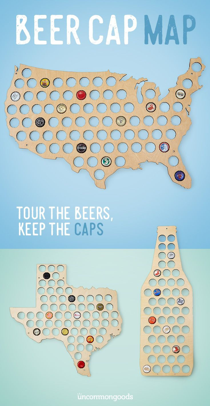 A unique gift for the craft beer fan, this handmade map allows you to capture your favorite caps while you explore the country's best beers!